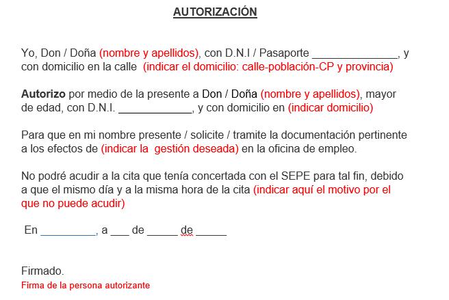 modelo autorizacion cita sepe-inem