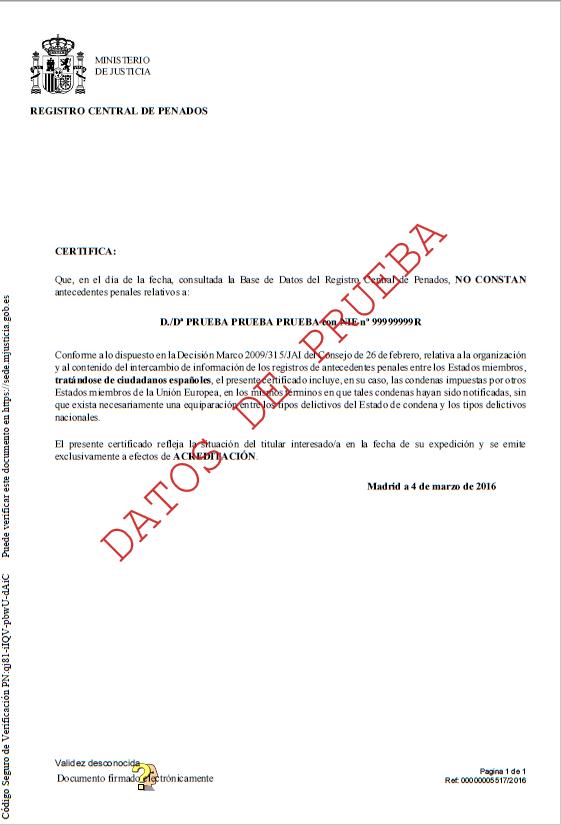 documento que certifica los antecedentes penales