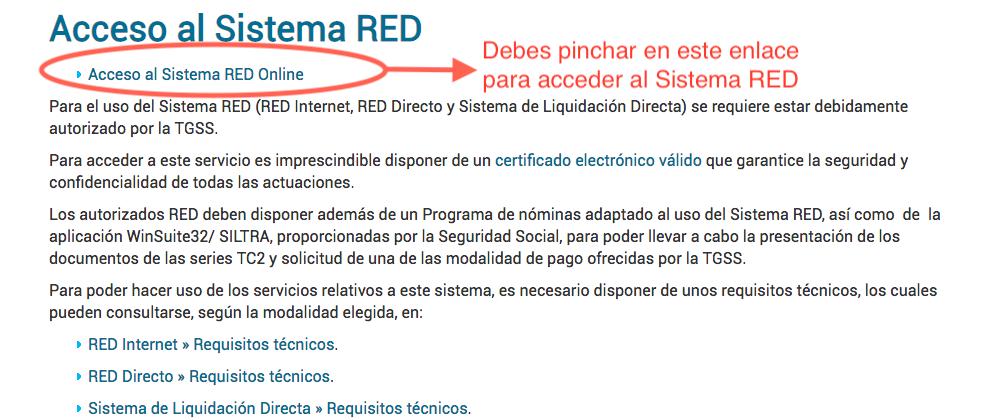 acceder al sistema RED