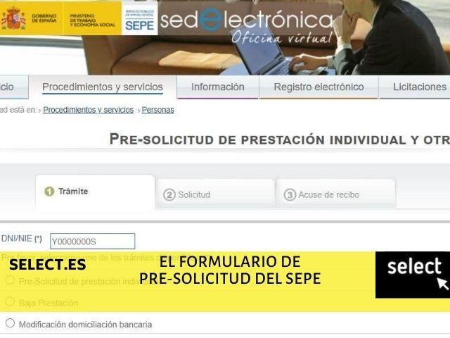 rellenar formulario pre-solicitud del SEPE online